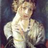 Mariano Fortuny (1871–1949). Ritratto di Madame Henriette Fortuny, moglie dell'artista (1915 ca.). Tempera su tavola preparata alla calce, firmato sul verso e datato sul retro. Dedica: A mi mujer. Mariano Fortuny.