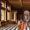 "Pieter Willemsz VAN DER STOCK, Willem Cornelisz DUYSTER ""Elegant Figures in a Classical Colonaded Gallery"", 1632, olio su tela, 101 x 152 cm Courtesy Rafael Valls ltd, London"